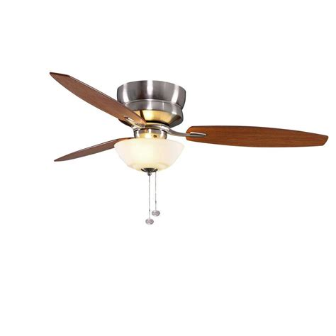 hton bay hugger 52 in white ceiling fan with light hton bay flush mount ceiling fans hton bay 1 light nickel
