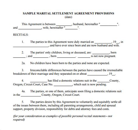 divorce agreement template separation agreement template 8 free documents