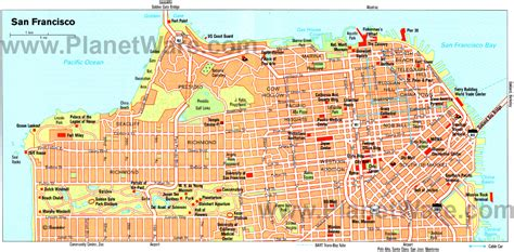 san francisco map attractions map of san francisco outravelling maps guide