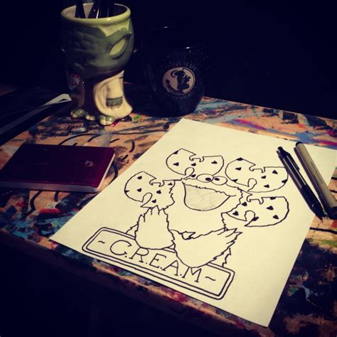 my cookie monster c r e a m tattoo design by sampson1721