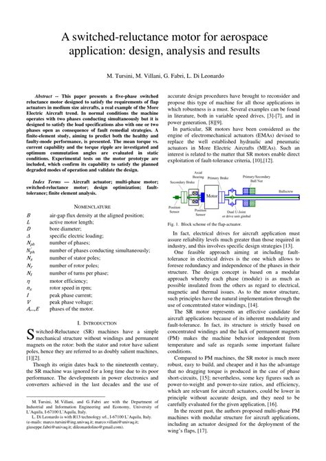 design analysis application a switched reluctance motor for aerospace pdf download