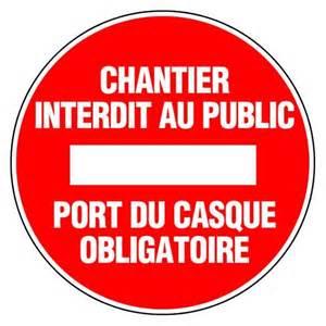 epi panneau rond chantier interdit au port du