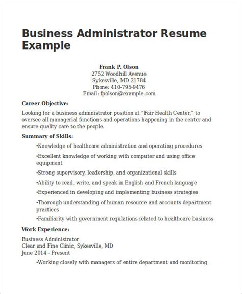 business administration resume exles 20 business resume templates pdf doc free premium