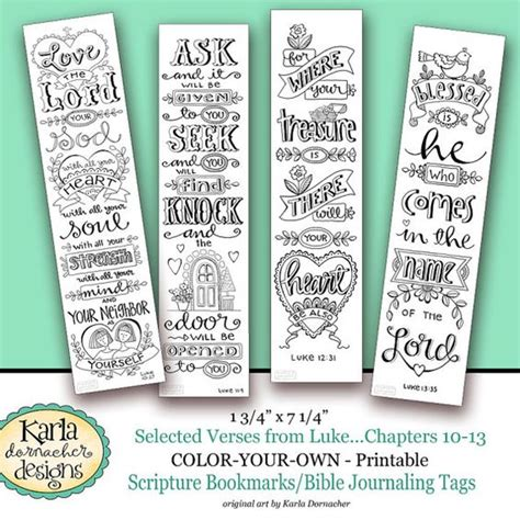 bible bookmark template luke 10 13 color your own bookmarks bible journaling