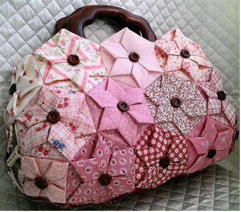 origami folded flower design quilt hexagon folded flower bag the furthest place you rarely