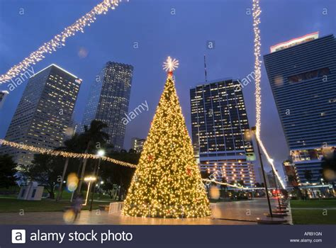 christmas lights illuminate downtown miami florida