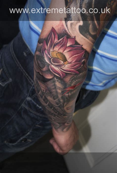 extreme tattoo sleeves pink lotus flower tattoo sleeve in progress gabi tomescu