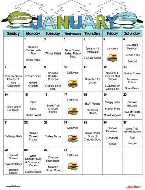 january monthly meal plan quick easy kid