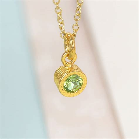 Perakclean Green Peridot Peridote Pridot gold and solitaire green peridot birthstone necklace by