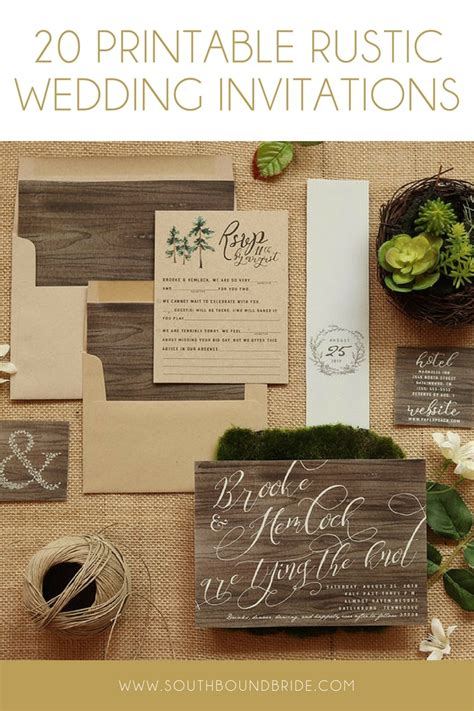 printable rustic wedding invitations from etsy southbound