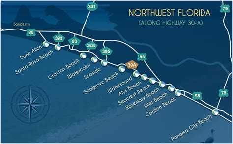 30a map explore beautiful towns on scenic highway 30 a