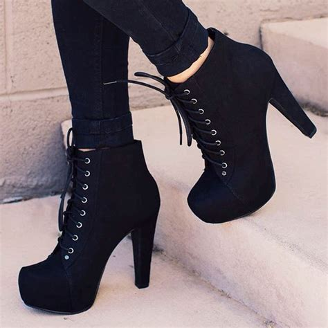 ankle boots with heels shoes booties heels black boots with laces black