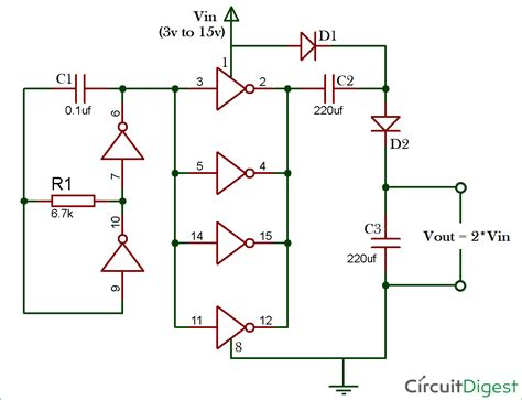 current multiplier circuit diagram 12v to 24v voltage doubler circuit diagram using ic 4049