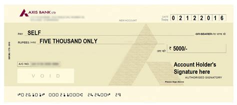 cheque bank account how to write a cheque in axis bank self account payee