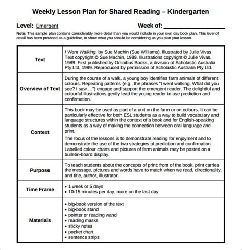 daily lesson plan template for kindergarten guided reading lesson plan template 8 free