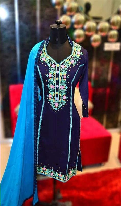 embroidery punjabi suits pinterest machine embroidered pure cotton suit in royal blue color