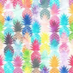 Tropical Pattern Curtains Hawaiian Pineapple Pattern Tropical Watercolor Art Print
