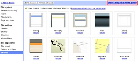 themes google sites apply template themes to existing sites in google sites