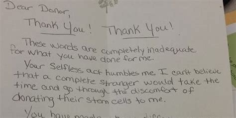 Thank You Letter To Donors bone marrow recipient pens beautiful thank you letter to