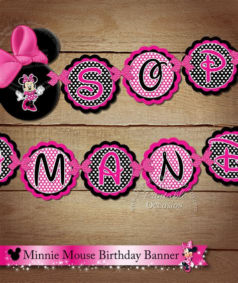 printable minnie birthday banner printable minnie mouse name to coordinate with birthday banner