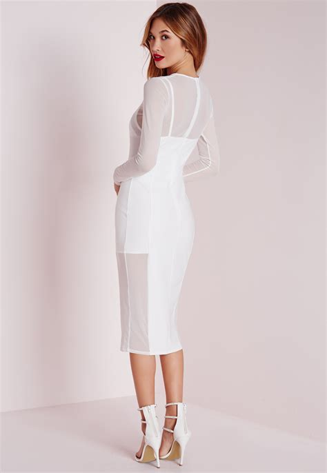 White Dress Pantai S missguided sleeve mesh midi dress white in white lyst