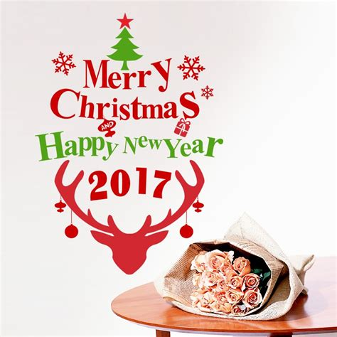 happy  year merry christmas deer snowflake natal toko kaca jendela dinding stiker decals