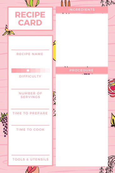 Recipe Template Dc Design Recipe Design Template