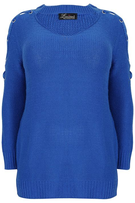 Hoodie Jumper Brembo Master Rem limited collection royal blue choker jumper with lace sleeves plus size 16 to 32