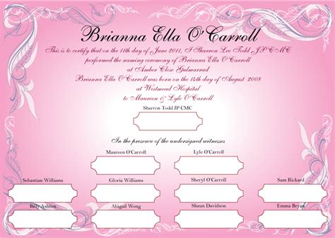naming certificates free templates preparing for a naming day marriage celebrant grafton