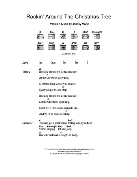christmas tree lyrics and guitar chords rockin around the tree sheet by brenda lyrics chords 107434