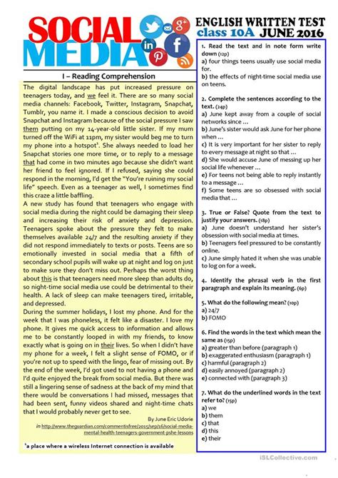 reading comprehension test adults social media 10th grade test worksheet free esl