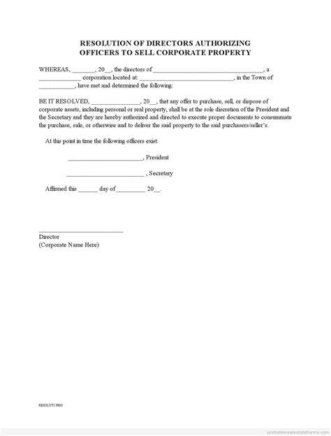 Free Corporate Resolution To Sell Property0001 Form Printable Real Estate Forms Resolution Template Word