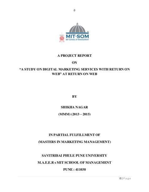 Digital Marketing Mba Project Report by Project Report On Quot A Study Of Digital Marketing Services Quot