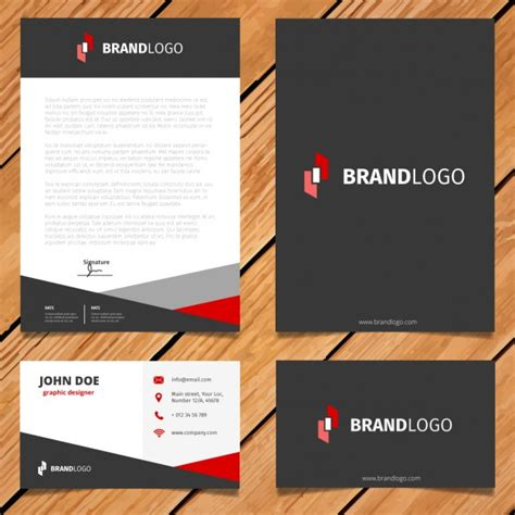 free download stationary layout design vector black and red corporate stationery design vector free