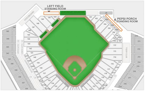 comerica park seating chart  seat numbers
