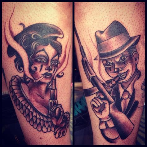 bonnie and clyde tattoos by cooke tattoos by our