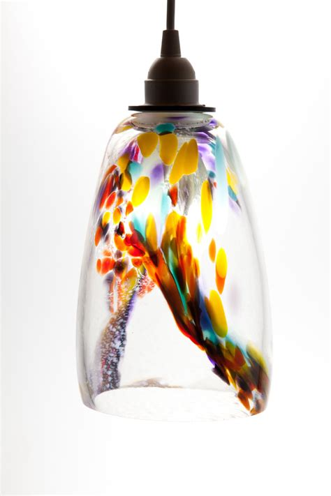 Hand Blown Glass Hanging Light Pendant Fixture In Yellow Blown Glass Light Pendants
