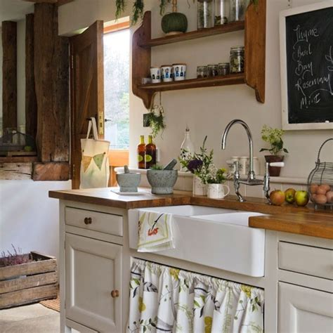 Open Kitchen Shelving Uk Rustic Kitchen With Wood Worktops And Open Shelving