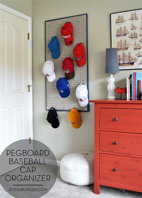 diy boy room decor diy pegboard baseball cap organizer the home