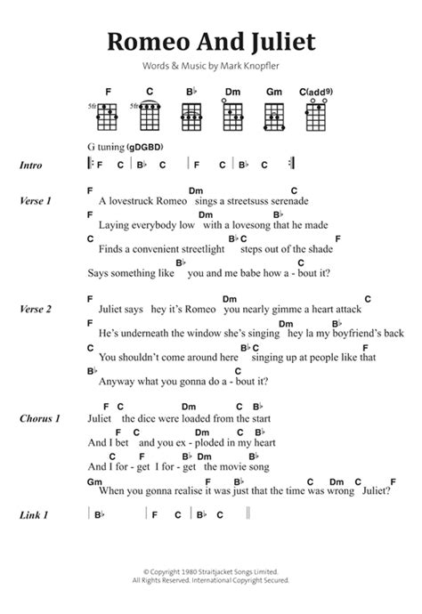 theme songs for romeo and juliet characters romeo and juliet sheet music by dire straits banjo lyrics