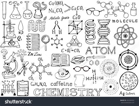 education theme drawing chemistry science doodle handwriting elements science and
