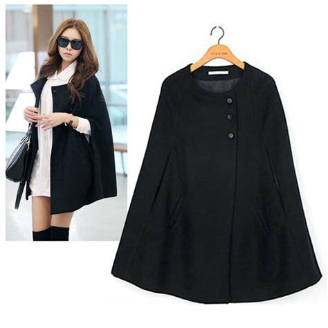 casual womens cape black batwing wool poncho jacket lady