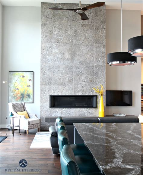 Contemporary 2 storey fireplace with modern tile, linear