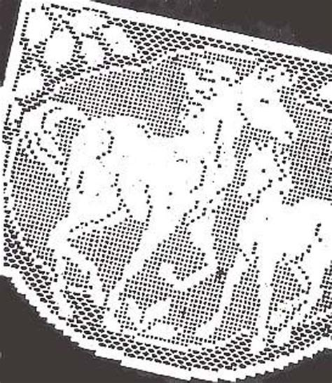 vintage pattern reprint vintage filet crochet horses chair back set pattern