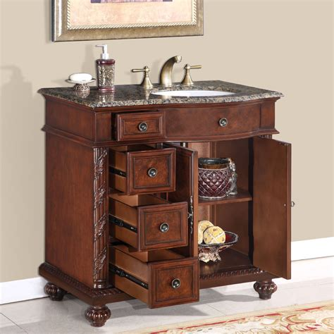 36? Perfecta PA 139 Bathroom Vanity R Single Sink Cabinet (English Chestnut Finish Granite