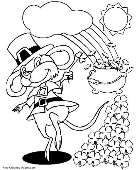 Mouse And Shamrocks Coloring Page St S Day Coloring Pages For On