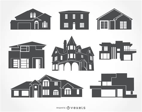 house silhouettes collection vector