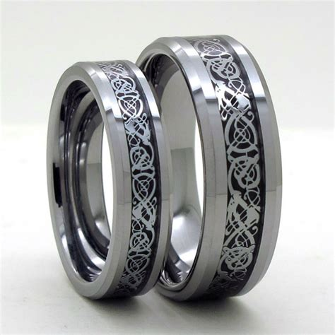 tailor made 8mm 6mm silver inlay tungsten carbide