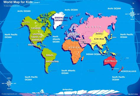 Map Of The World For Kids by World Map Kids Printable