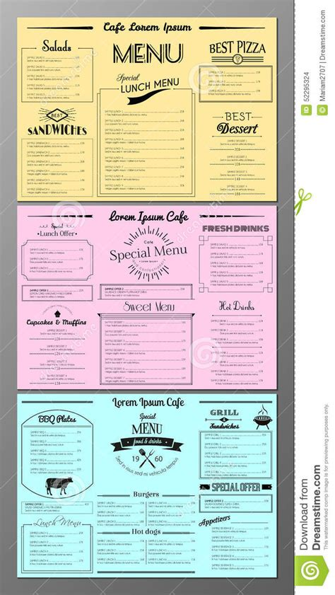 sle menu design templates set of menu design templates stock vector image 52295324